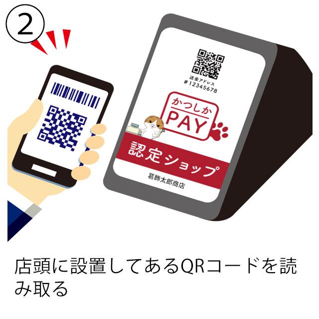 (2)店頭に設置してあるQRコードを読み取る